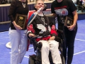 Pat Hilferty, Monica Hilferty, and Joanne Shipman with some hardware - 2016 Powerhockey Cup