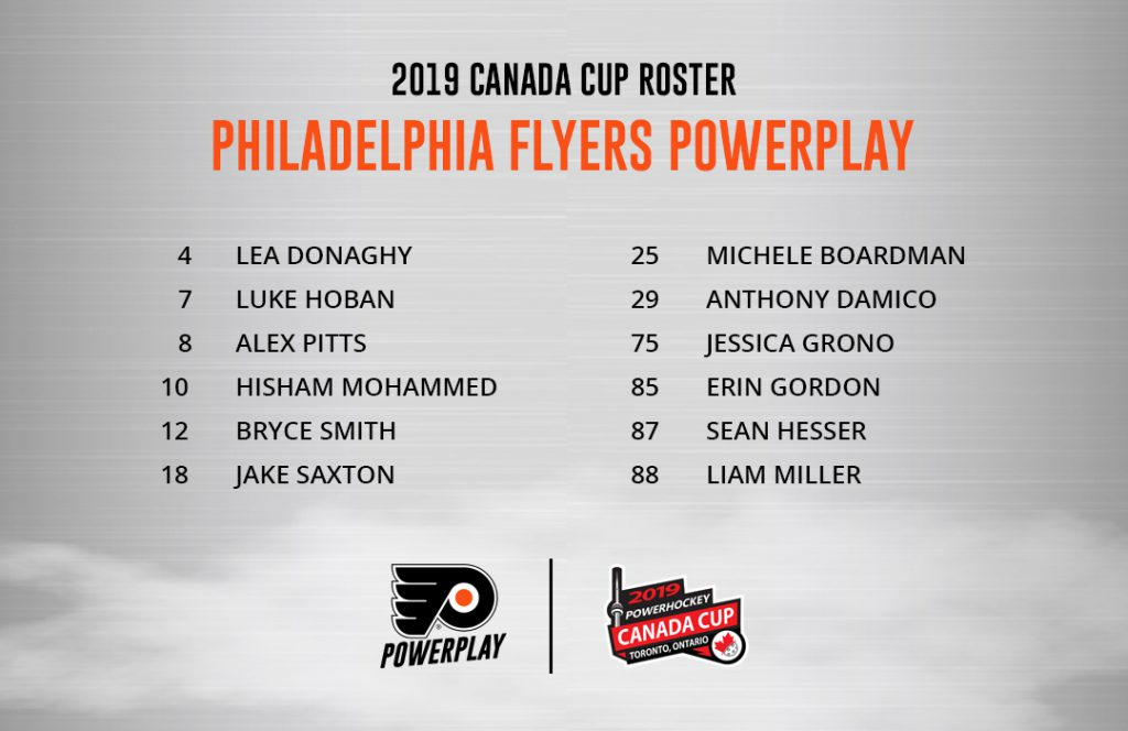 Flyers PowerPlay roster for the 2019 Canada Cup.